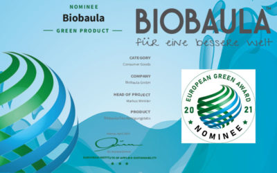 BIOBAULA nominiert für den European Green Award 2021